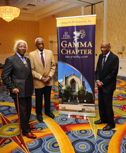 Honored at the 2016 First District Conference with induction into the Gamma Sterling Circle, Bro. Moore stands on the right with his line brother and pyrophyte. Photo credit DJG Studios.