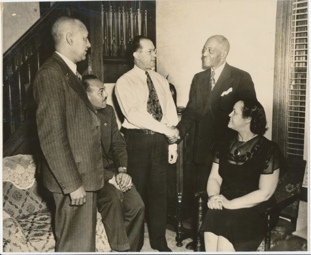 Francis Dent (Standing on L), with Edward Swan, Orsel McGhee, Willis Graves, Jr., & Minnie McGhee, victorious in the Michigan racially restrictive covenants lawsuit.